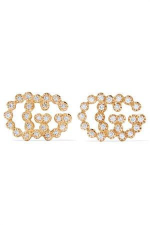 Gucci | 18-karat gold diamond earrings | NET-A-PORTER.COM