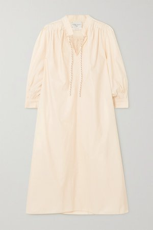 Cotton-blend Midi Dress - Ecru