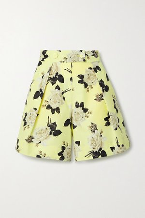 Howard Floral-print Cotton-faille Shorts - Chartreuse