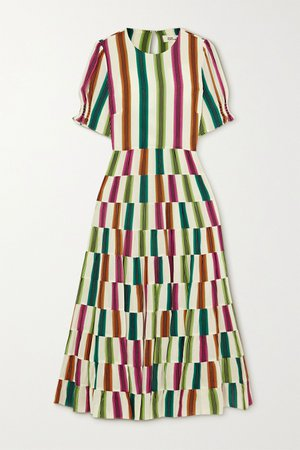 Off-white Zadie cutout striped crepe de chine midi dress | Diane von Furstenberg | NET-A-PORTER