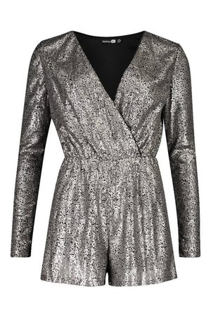 Tall Sequin Wrap Playsuit | Boohoo