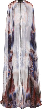 Zuhair Murad Loney Printed Silk-Blend Cape