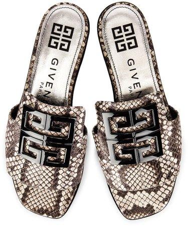 4G Flat Mule Sandals in Stone Grey   FWRD