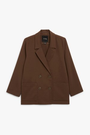 Double breasted blazer - Brown - Blazers - Monki WW