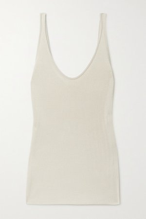 Ribbed Silk Tank - Beige