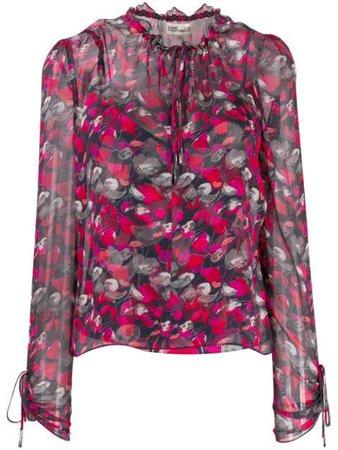 Dvf Diane Von Furstenberg Lilian Floral Print Blouse 13938DVF Red | Farfetch