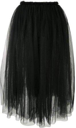 high-waisted pleated tulle skirt