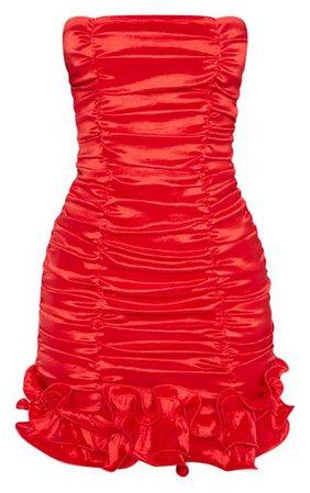 Red Woven Ruffle Frill Hem Bandeau Bodycon Dress | PrettyLittleThing