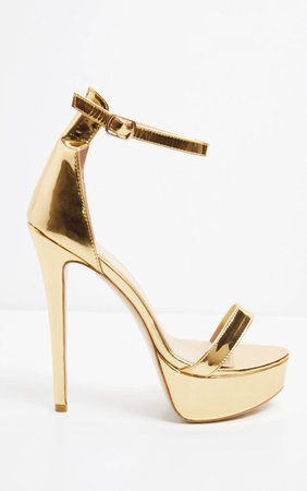 Gold Patent High Platform Heels | Shoes | PrettyLittleThing USA