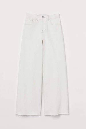 Wide Leg Cropped Jeans - White