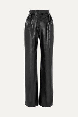 Black Pleated faux leather wide-leg pants | MATERIEL | NET-A-PORTER