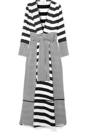 we are LEONE | Striped silk crepe de chine robe | NET-A-PORTER.COM