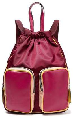 Leather-paneled Color-block Backpack