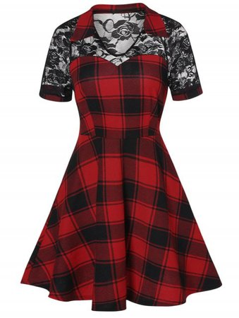 [50% OFF] 2019 Vintage Lace Insert Plaid Dress In LAVA RED | DressLily