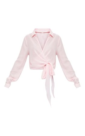 Avalyn Pink Wrap Front Tie Side Blouse. Tops   PrettyLittleThing