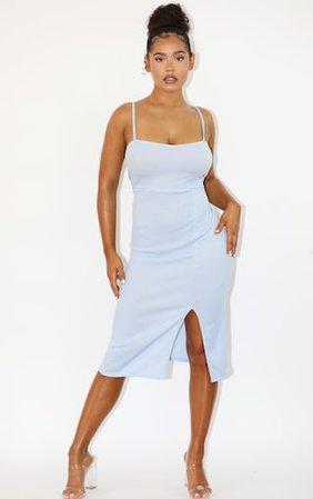 Baby Blue Rib Square Neck Strappy Split Midi Dress | PrettyLittleThing