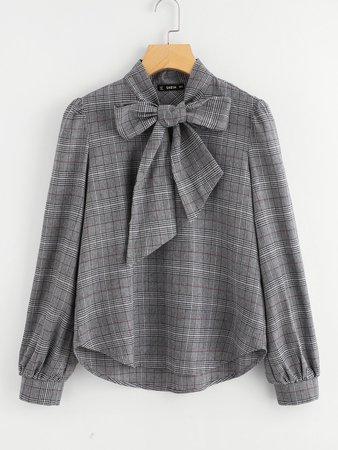 Bow Tie Neck Plaid Blouse