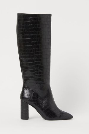 Crocodile-patterned Boots - Black