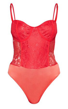 Red Lace Cup Bodysuit | Tops | PrettyLittleThing USA