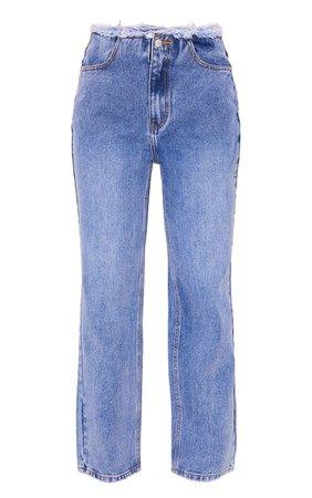 Mid Blue Wash Ripped Waistband Boyfriend Jeans | PrettyLittleThing USA