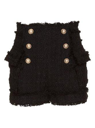 Balmain Short Tweed In Black