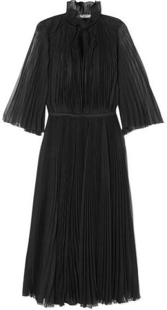 Plissé-georgette Midi Dress - Black