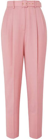 The Woolmark Company Gus Belted Pleated Merino Wool Straight-leg Pants - Pink