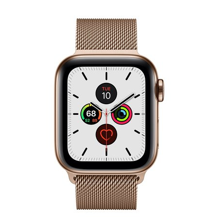 Apple Watch Series 5 GPS + Cellular, 40mm Gold Stainless Steel Case with Gold Milanese Loop - Apple