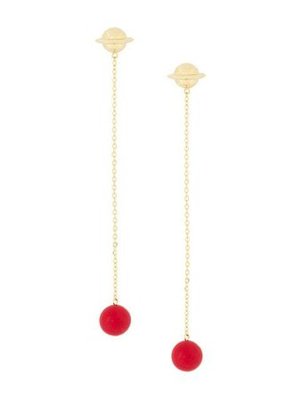 Eshvi Astro drop coral chain earrings