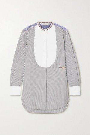 Embroidered Striped Cotton-poplin Shirt - Blue