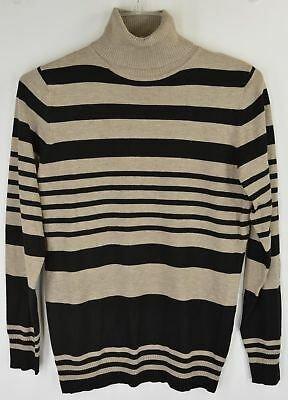 JOSEPH A TURTLENECK Sweater Womens S Mocha Heather Black Striped NEW 5425 - $12.00   PicClick
