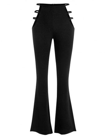 [28% OFF] 2020 Ladder Cutout Waist Textured Bootcut Pants In BLACK | ZAFUL