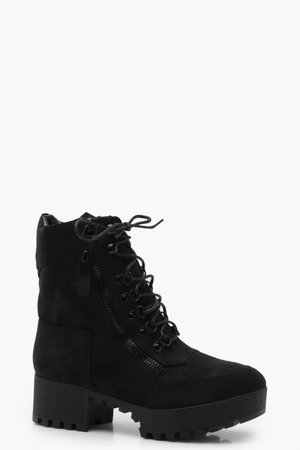 Chunky Zip and Lace Up Hiker Boots | Boohoo