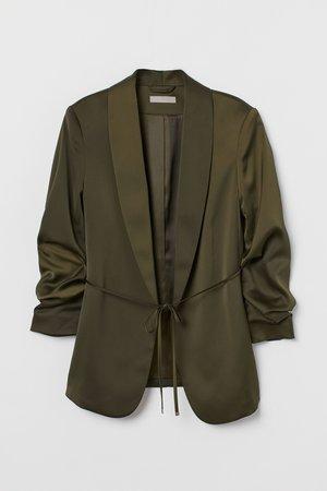 Saco con mangas fruncidas - Verde oliva oscuro | H&M MX