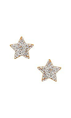 EF COLLECTION Baby Diamond Star Stud Earrings in Yellow Gold   REVOLVE