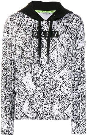 snakeskin print cotton blend hoodie