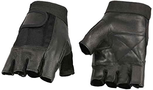 Amazon.com: Milwaukee Leather Men's Leather Mesh Combo Fingerless Gloves, Black SH217 (XL): Milwaukee Leather: Automotive