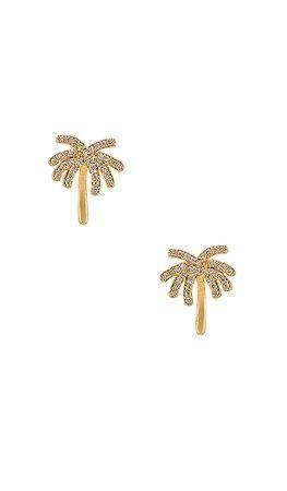 Ettika Palm Tree Stud Earring in Clear & Gold   REVOLVE