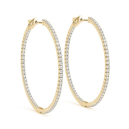 Large Hoop Earring Diamond Inside Out In 18K Yellow Gold | Fascinating Diamonds