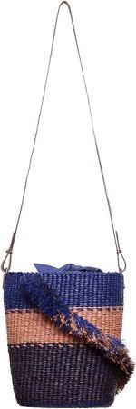Lame Ruffle Raffia Woven Shoulder Bag