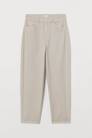 Ankle-length Twill Pants - Beige