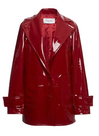 Valentino red patent leather trench coat