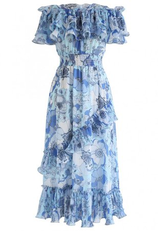Blooming Floral Off-Shoulder Dress in Blue - NEW ARRIVALS - Retro, Indie and Unique Fashion