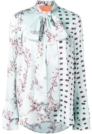 Ssheena floral and rectangle print blouse