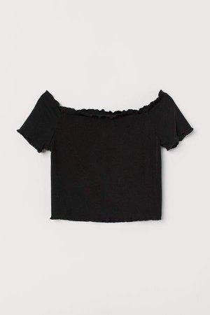 Short Off-the-shoulder Top - Black