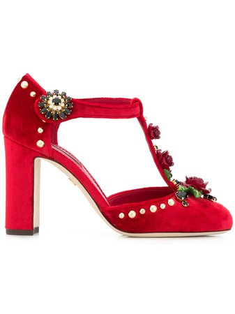 Dolce & Gabbana rose appliqué T-bar pumps - Buy Online - Large Selection of Luxury Labels
