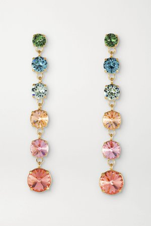 Pink Technicolor Mini Drip Drop gold-plated Swarovski crystal earrings | Roxanne Assoulin | NET-A-PORTER