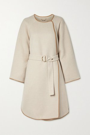Belted Leather-trimmed Wool And Cashmere-blend Coat - Beige