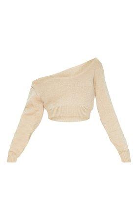 Adelaida Stone Off Shoulder Knitted Crop Jumper | PrettyLittleThing