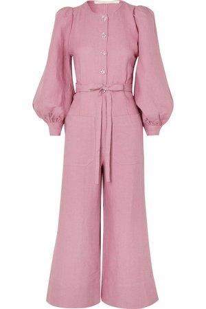 Anna Mason   Jane belted linen jumpsuit   NET-A-PORTER.COM